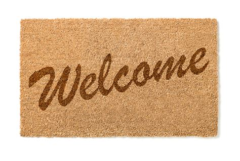No Soliciting Welcome Mat | grey welcome mat with written welcome sign on it six