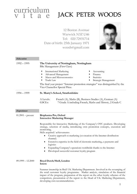 resume vitae sle in word format free german cv template doc calendar doc