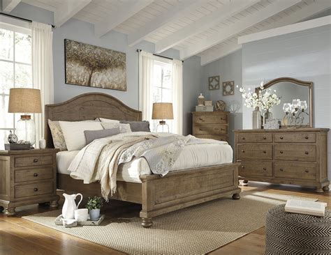 panel bedroom sets trishley light brown panel bedroom set from ashley