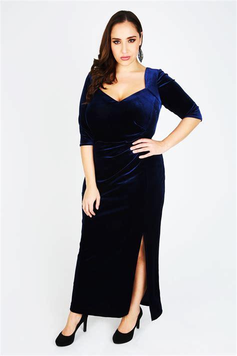 Maxi Prissia Velvet Blue jo midnight blue velvet maxi dress plus size 14 to 32