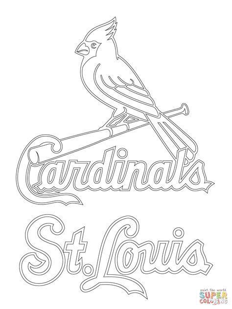 st louis cardinals logo coloring page free printable