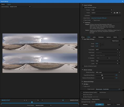 adobe premiere pro use maximum render quality work with immersive vr video