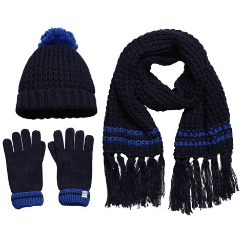 carr 233 ment beau navy blue knitted hat gloves scarf set
