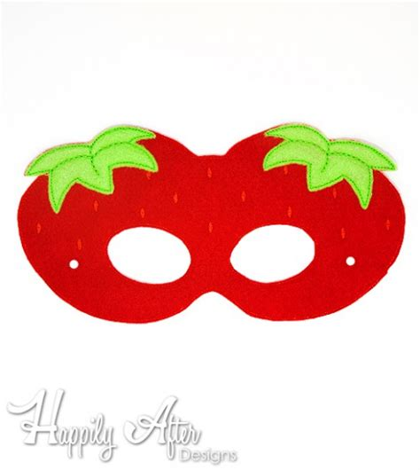 Masker Images Strawberry Fruit Mask Masker Buah Images strawberry mask embroidery design