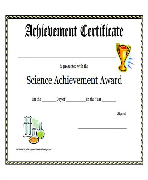science award certificate template printable award certificate