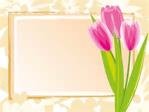 Flower Frame Template by Pink Tulips Frame Template Ppt Backgrounds Border