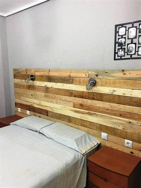 Light Wood Headboard Pallet Headboard With Lights