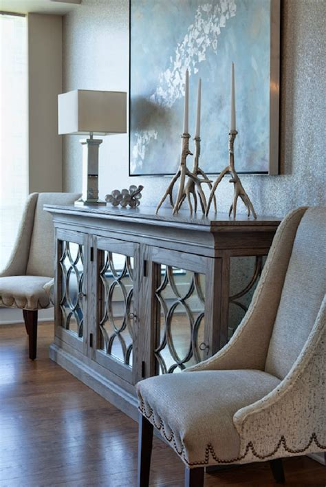 Mirrored Buffet Transitional Entrance Foyer Mirrored Buffet Console Table