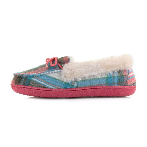 S Comfort Shoes Stylish by Womens Winter Warm Comfort Stylish Check Moccasins