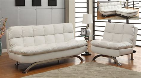 Plush Futon by White Leatherette Plush Pillow Top Sofa Futon Chair Set