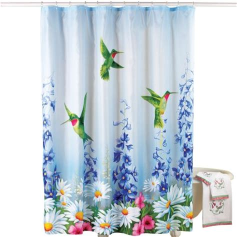 hummingbird shower curtains garden bliss hummingbird shower curtain blue walmart com