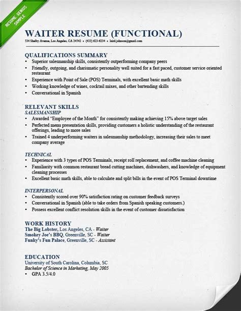 Resume Exles For Waiter Food Service Waitress Waiter Resume Sles Tips