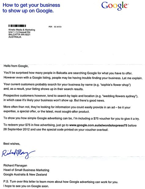 business letter sle australia did send a letter to your business marketing
