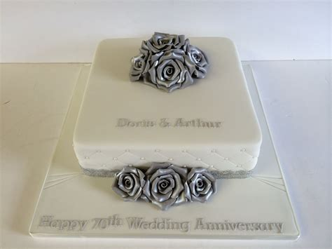 70th wedding anniversary cake platinum silver roses 50th anniversary wedding anniversary