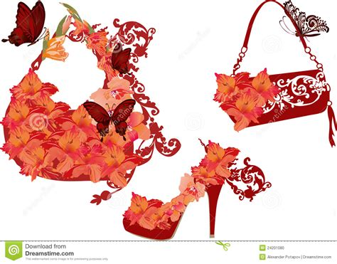 Decoupage Shoebox - flower shoe and bags stock vector image of high