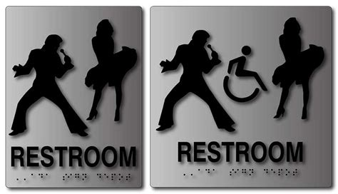 unisex bathrooms california elvis presley and marilyn monroe brushed aluminum ada signs for unisex restrooms