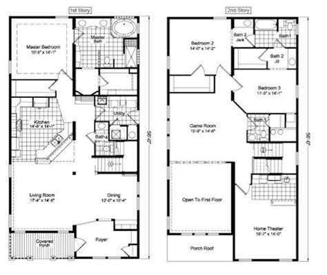 Two Story House Floor Plans Two Floor House Plans Two Storey Townhouse Plans