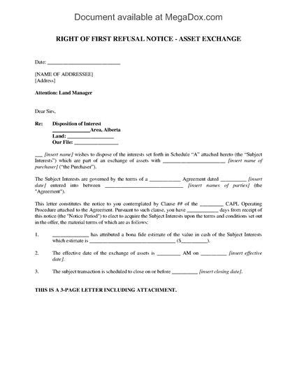 Right Of Refusal Notice Letter