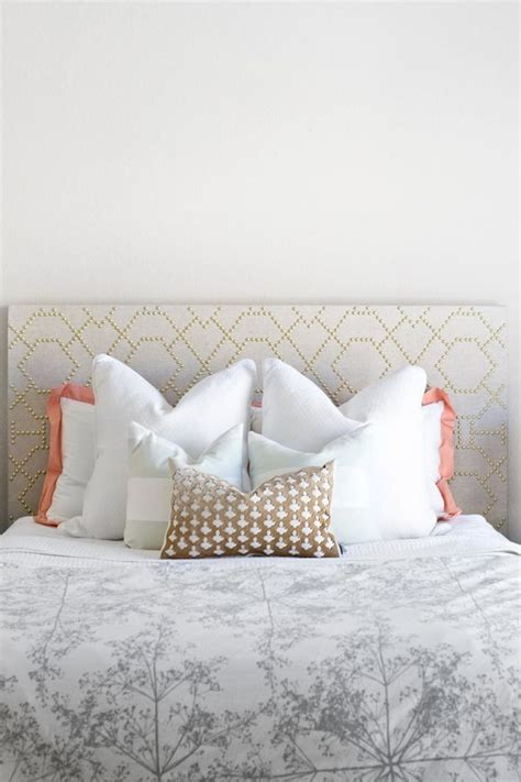 diy studded headboard diy nailhead metallic linen headboard craft diy