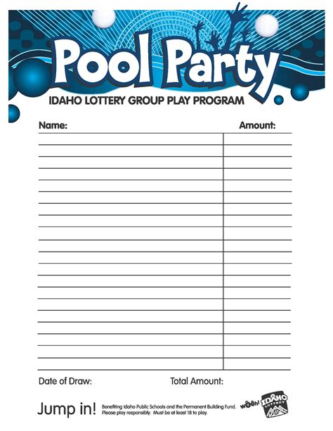 Lottery Pool Agreement Template pool party pool tips