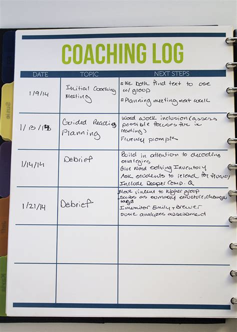 coaching record template coaching log ms houser