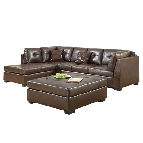 brown sectional with ottoman coaster darie leather sectional sofa with ottoman in brown