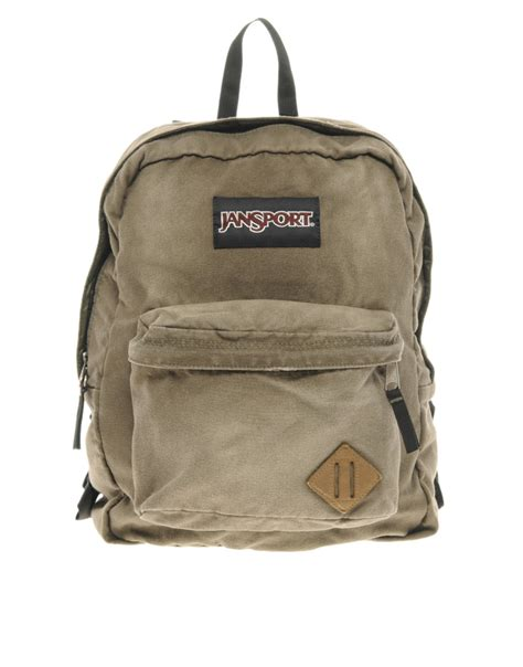 jansport slacker backpack in khaki for men green lyst