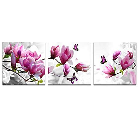 4 Pink Flower Wall D Cor Picture Print cao decor pink flower 3 panels stretched canvas framed import it all