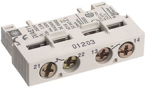 auxiliary contact block front mounted 1 no 1nc gvae11