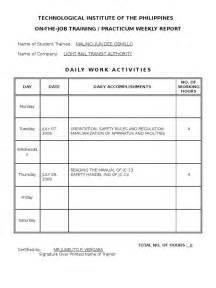 Weekly Accomplishment Report Template Ojt Practicum Weekly Report