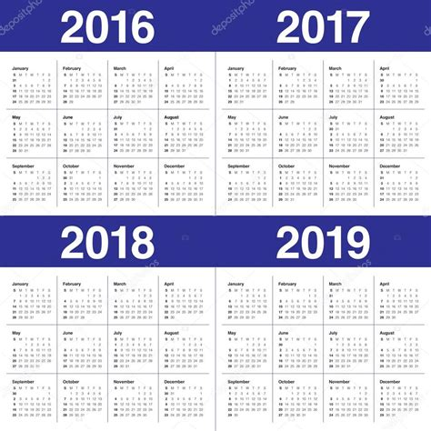 2016 To 2018 Calendar Calendario 2016 2017 2018 2019 Vector De Stock 87397970