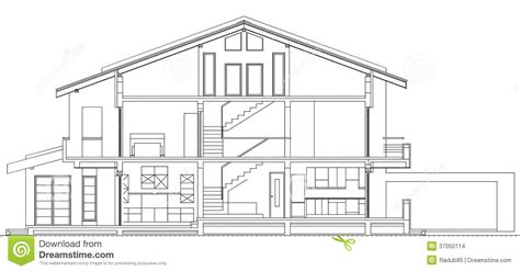 Single Story House Plans With Basement modern american house facade section stock vector