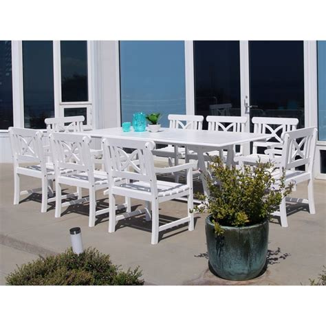 White Patio Dining Set 9 Extendable Hardwood Patio Dining Set In White V1334set18