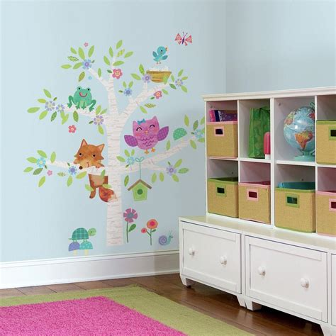 baby room wall stickers uk roommates 5 in x 19 in woodland baby birch tree peel and