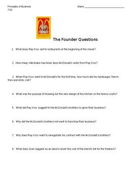 film study quiz quot the founder quot movie guide questions by mae hiatt tpt