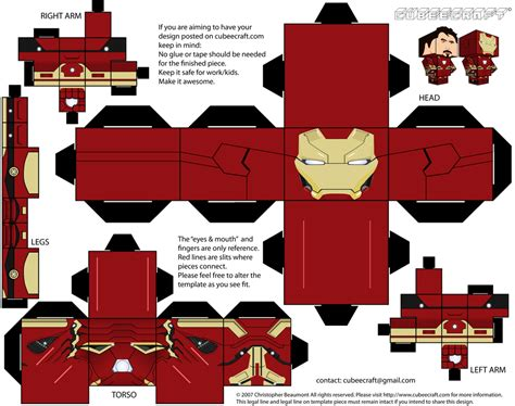 Ironman Papercraft - iron cubeecraft for the library cubeecraft and