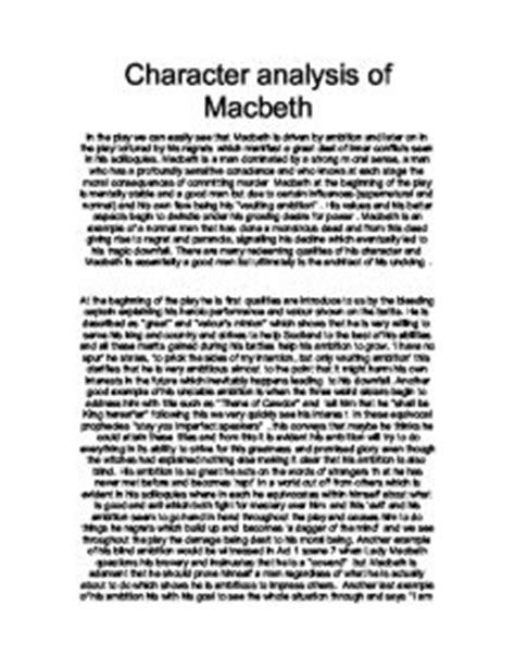Macbeth Analysis Essay by Character Analysis Of Macbeth A Level Marked By Teachers