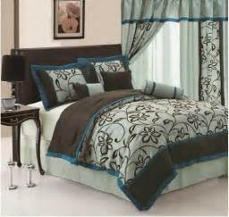 King Size Bedding Brown And Blue 7pc Faux Silk Bamboo Nod Aqua Blue Teal Brown Flocking