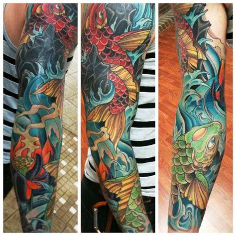 koi tattoo sleeve price koi sleeve by david tevenal tattoo sleeves pinterest