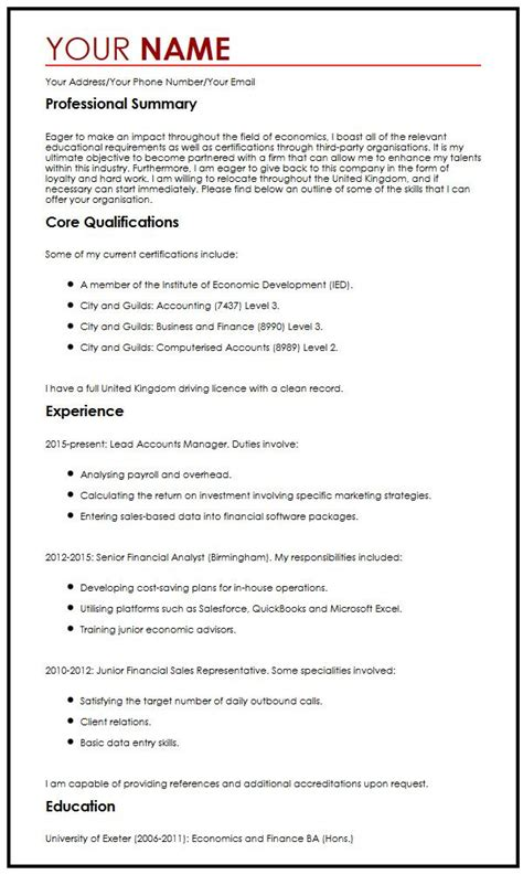 CV Example with Career Objectives   MyperfectCV