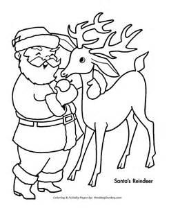 Santa s reindeer coloring sheet santa s with one of his reindeer