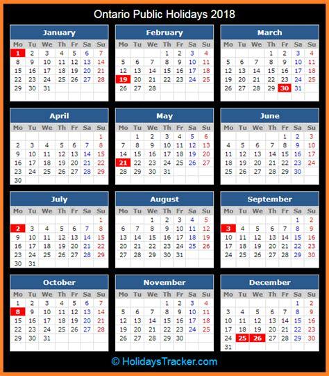 Calendar 2018 With Holidays Ontario Ontario Canada Holidays 2018 Holidays Tracker