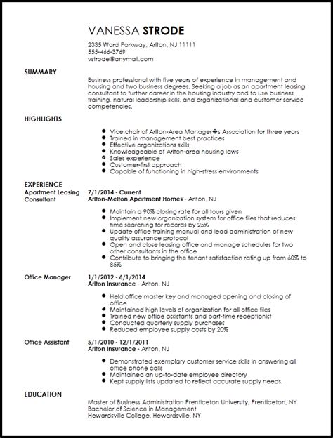 free traditional apartment leasing consultant resume