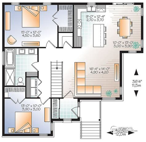 1 Level House Plans by Plano De Casa Moderna De 2 Dormitorios Y 115 M2 Planos