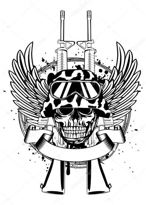 imagenes de calaveras y armas cr 225 neo en el casco y dos pistolas vector de stock