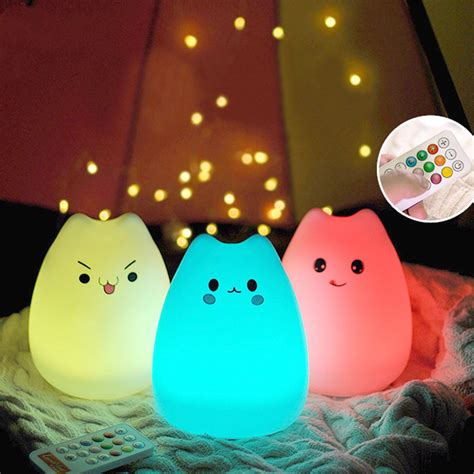 usb cat night light rechargeable silicone 7 colorful cute cat animal usb led