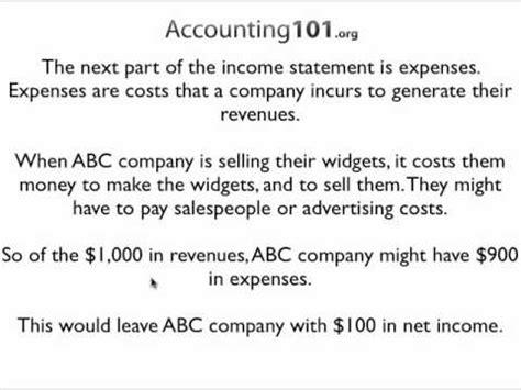Income Statement Exle Youtube Sle Income Statement Template