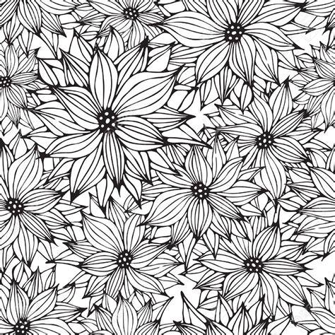 floral pattern design drawing seamless floral white black background flower hand drawn