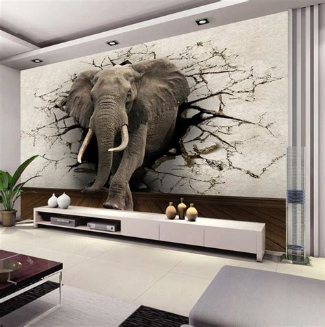 Home Interior Wall Art Custom 3d Elephant Wall Mural Personalized Giant Photo
