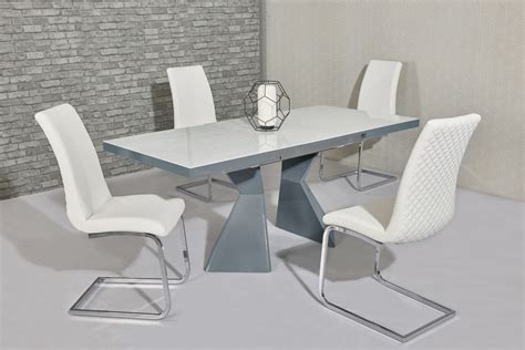 White Glass Dining Table And 6 Chairs White Glass Grey Gloss Dining Table 6 White Chairs Homegenies
